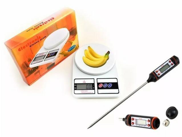 (NOVO) Balança Digital Cozinha Até 10 Kg + Termômetro Culinário - Foto 3