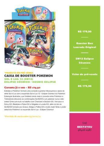 Booster Box Pokemon Sol E Lua 12 - Eclipse Cósmico-prévenda (R$ 179,90)