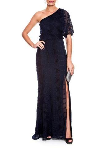 c86a0210a Vestido Le Lis Blanc longo azul escuro rendado - Roupas e calçados ...