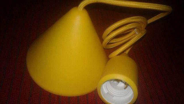 Canopla Light Silicone 112cm E27 Bivolt Amarela