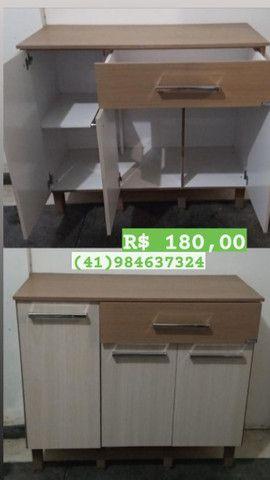 Guarda-roupa, balcão de cozinha, mesa escritório, mesa cadeira - Foto 3