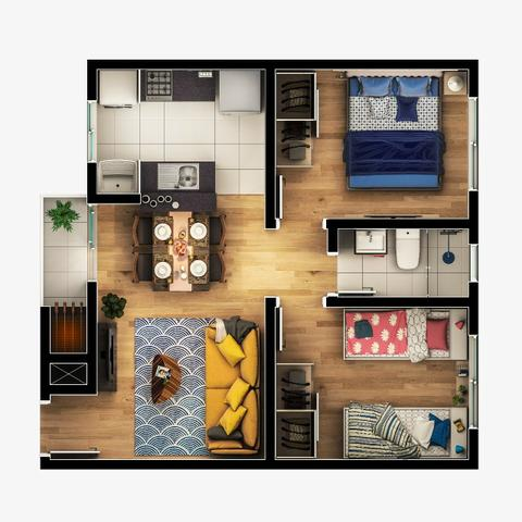 Sua Casa Seu Clube apartamentos a 5 minutos do Santa Candida 2 quartos - Foto 6