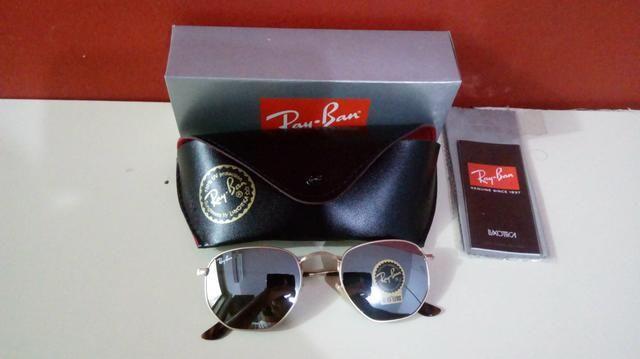 Óculos Ray Ban Hexagonal Espelhado Unissex Novo Frete grátis - Foto 2