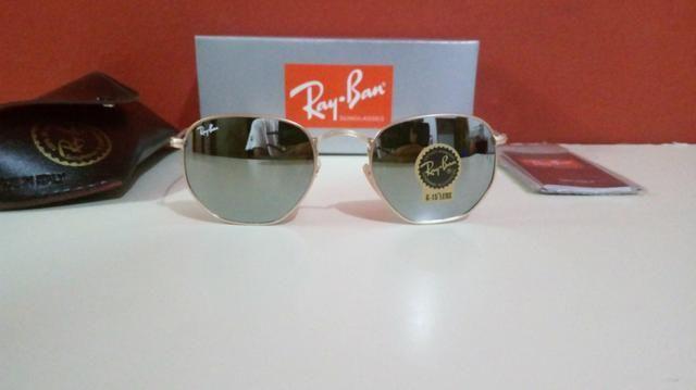 Óculos Ray Ban Hexagonal Espelhado Unissex Novo Frete grátis