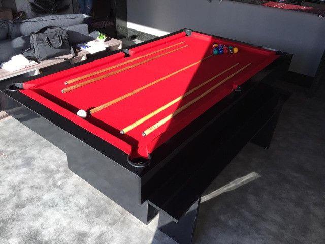 Mesa de Bilhar Sedução Preta Bl Tecido Vermelho Modelo IKH5101