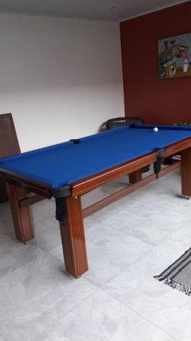 Mesa de Bilhar Diver Slim Maciça Tecido Azul Modelo JJD3054 - Foto 3