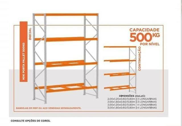 Mini Porta Pallet 500kg Início 2,00 X 1,80 X 0,60m Sem Bandeja