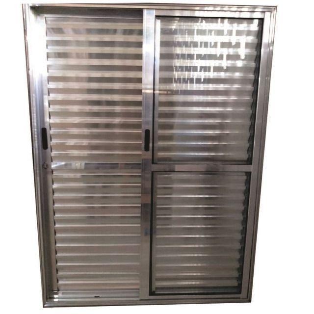 Porta Balcão de Correr Alumínio Brilhante 3 Folhas 2.10 x 1.50 Linha 25