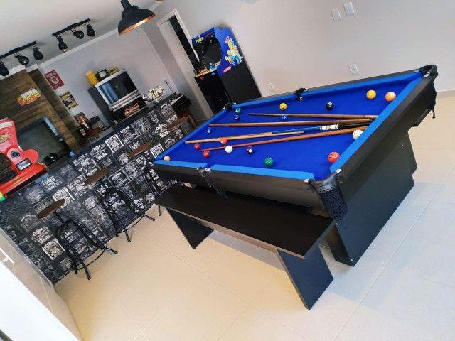 Mesa de Bilhar Encanto Preta Tx Tecido Azul Modelo KFJ4587 - Foto 5