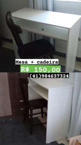 Guarda-roupa, balcão de cozinha, mesa escritório, mesa cadeira