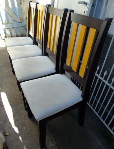 Mesa Madeira e Vidro com 4 cadeiras 90x90 cm - Foto 4