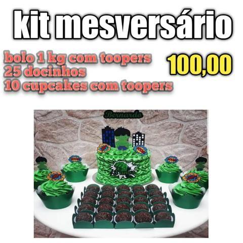 Kit festa bolos doces salgadinhos mini cachorro quente cupcake - Foto 5