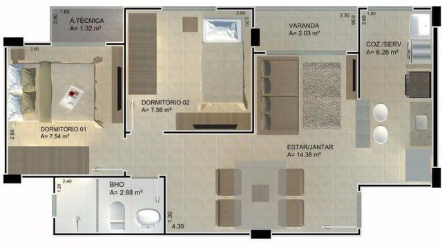 Res. Santa Maria. 2 quartos, Coqueiro. Use o FGTS. Pronto pra morar! - Foto 4