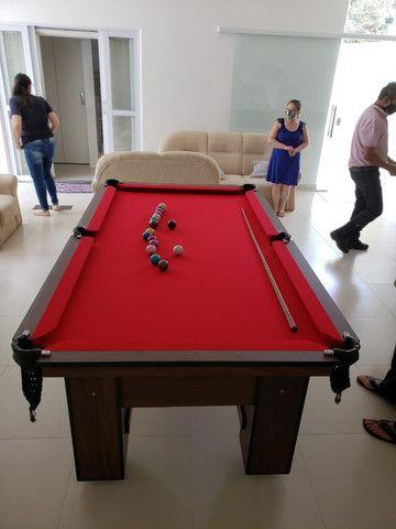 Mesa de Bilhar Charme Imbuia Tecido Vermelho Modelo BVV3201 - Foto 4