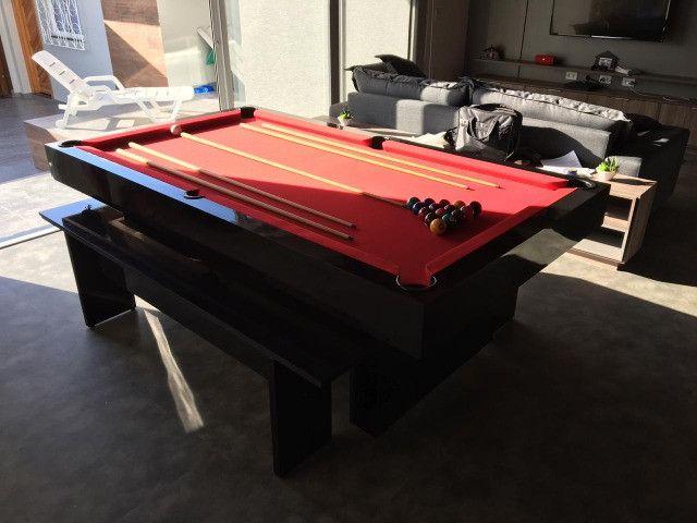 Mesa de Bilhar Sedução Preta Bl Tecido Vermelho Modelo IKH5101 - Foto 2