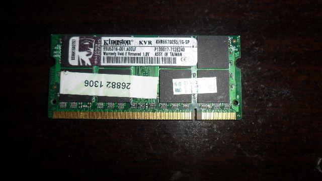 Memória 1gb Ddr2 667 Para Notebook Kingston Kvr667d2s5/1g