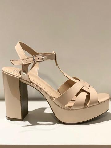 Sandália bege nude, salto groso - City Shoes - Foto 3