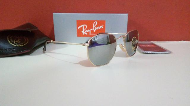 Óculos Ray Ban Hexagonal Espelhado Unissex Novo Frete grátis - Foto 5