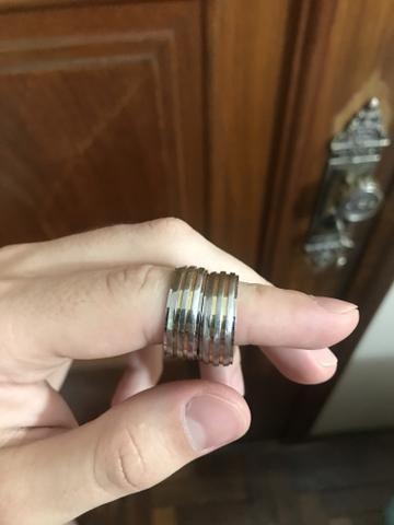 Aliança de prata com fios de ouro - Foto 3