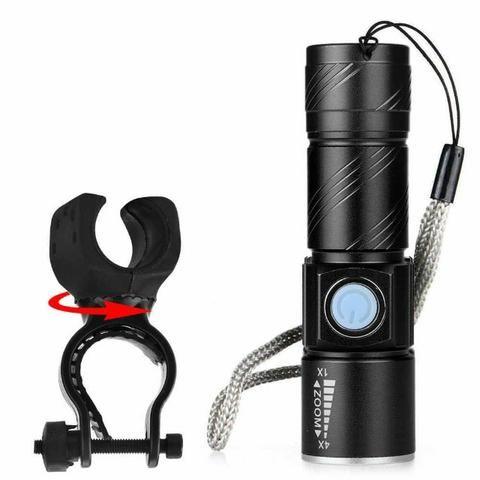 Lanterna Recarregável p/ Guidão Bike Resistente Água + Suporte - Foto 6