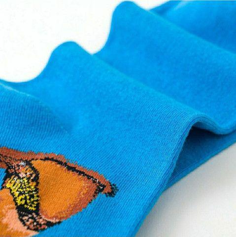 Par de meia de algodão azul cano alto com estampa do faraó  - Foto 5
