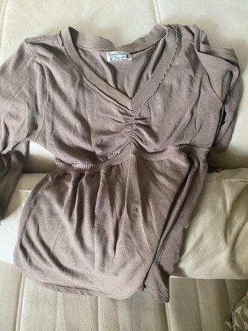 Blusa manga comprida Zara tam G/L marrom - Foto 2