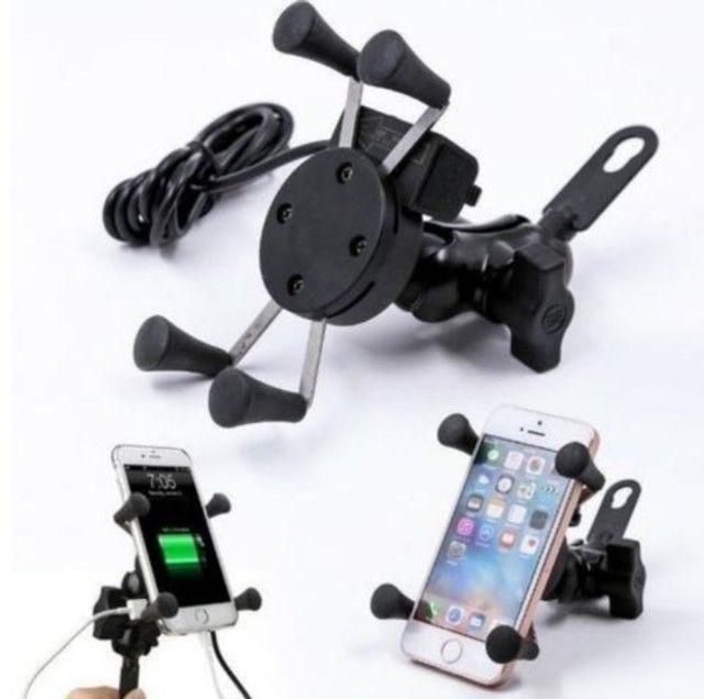 Suporte de celular para moto, com carregador USB - Foto 2