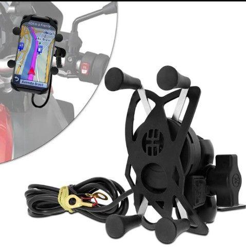 Suporte de celular para moto, com carregador USB - Foto 3