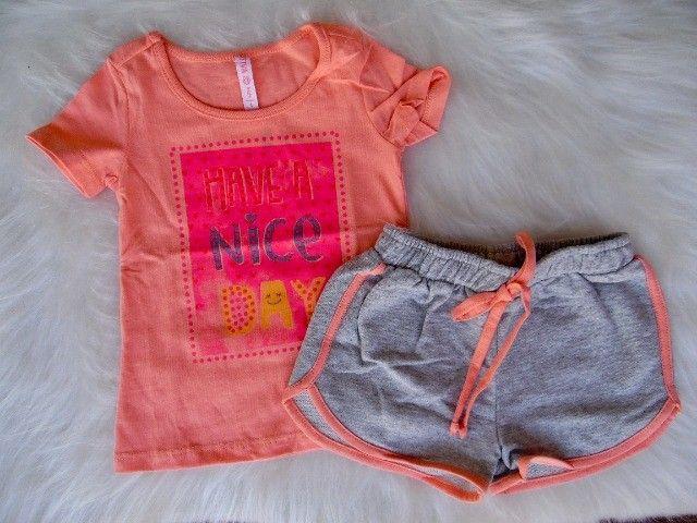 Conjunto Infantil Cativa Disney Menina T-shirt Short Moletom - Foto 3