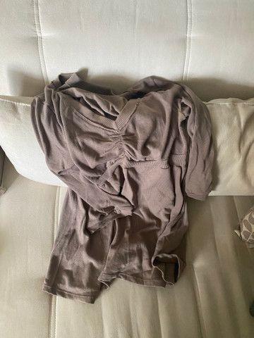 Blusa manga comprida Zara tam G/L marrom