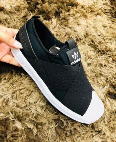 3fc3ce0309 tÊnis adidas superstar slip on preto  tênis adidas slip on