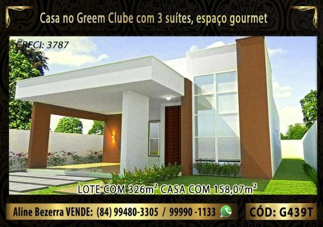Excelente casa no Green Clube 3 com 3 quartos, lote com 326m² venha conhecer - Foto 2