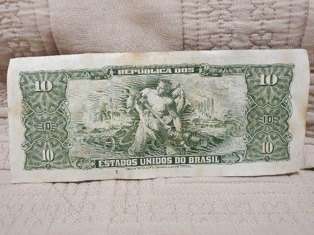 Cédula 10 Cruzeiros - Série 3300 - 2º Estampa Carimbada