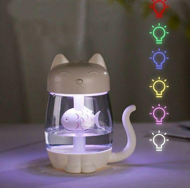 Umidificador Gato Aromatizador De Ar Com Mini Luminária Led + Mini Ventilador USB Portátil