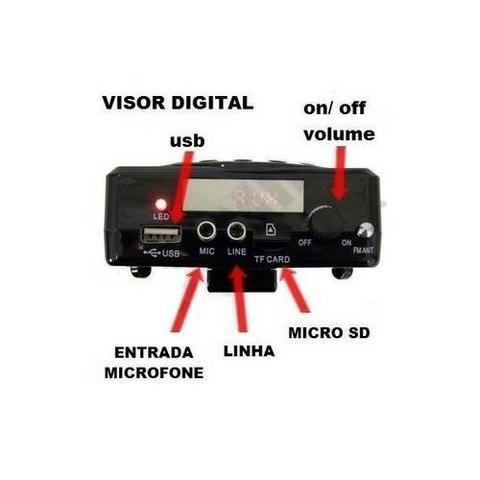 Megafone Portatil Amplificador Kit Professor Com Radio Fm, Microfone E Usb E Sd Recarrega - Foto 2