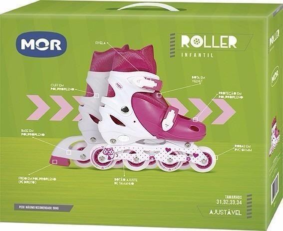 Patins Roller Row da MOR / Ajustável Tamanho 31 A 34
