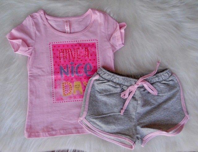 Conjunto Infantil Cativa Disney Menina T-shirt Short Moletom - Foto 2
