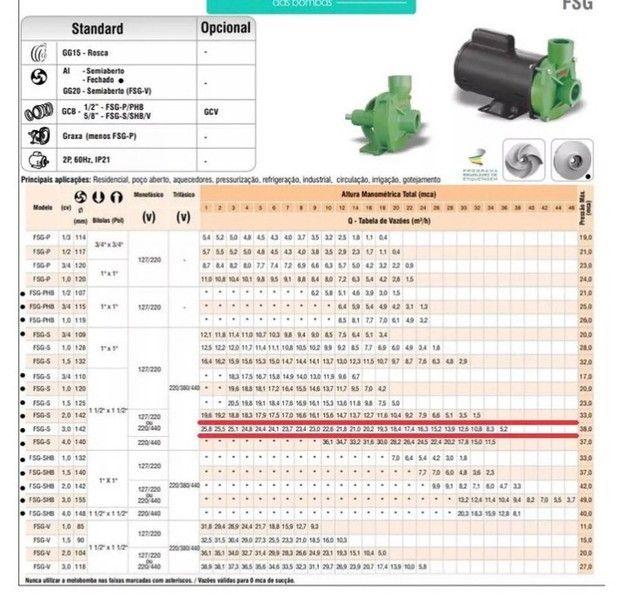 Bomba Centrifuga Monoestágio Famac Fsg-s 3cv Mono - Foto 2