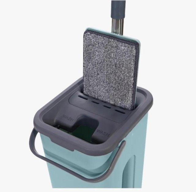 Mop Rodo Tirá Pó Esfregão Com Balde Flat Wash And Dry + Refil Melhor preço! - Foto 2