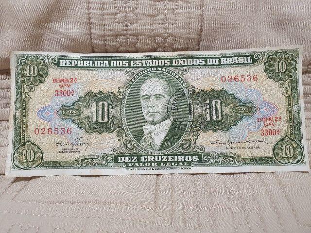 Cédula 10 Cruzeiros - Série 3300 - 2º Estampa Carimbada - Foto 2