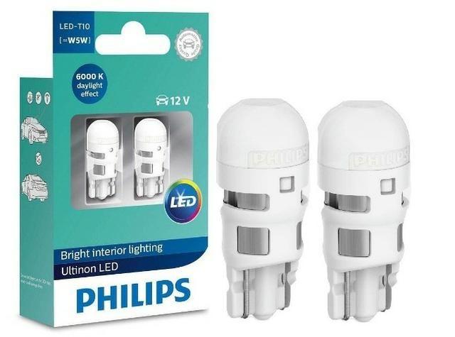 Par Lâmpada Philips T10 W5w Ultinon Led Pingo Branco 6000k