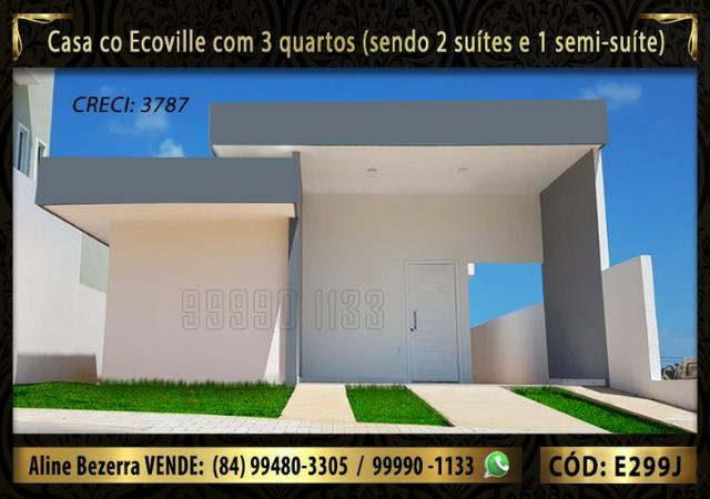 Casa no ecoville, 3 quartos sendo 2 suítes, churrasqueira, confira