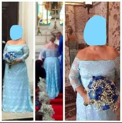 Vestido de Noiva/Madrinha - Azul Claro TAM 46