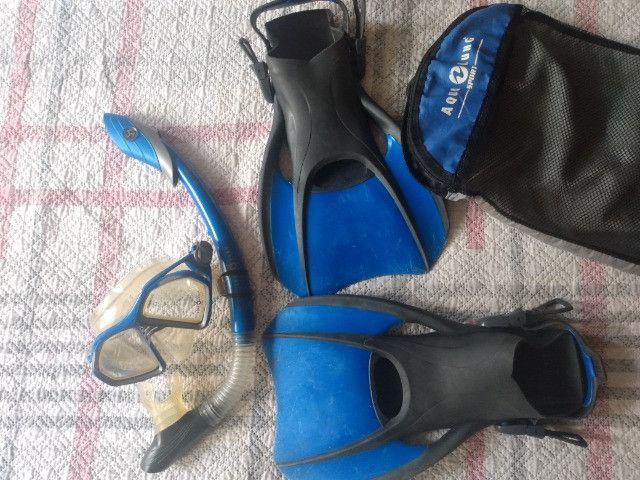 Kit mergulho AquaLung - usado - Foto 2