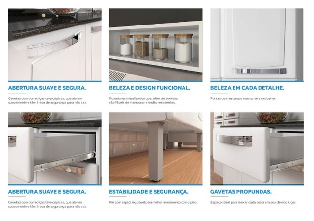 Cozinha Itatiaia Rose 7 Portas Aço e - Balcão com Tampo 3 Portas 1 Gaveta Branco - Foto 5