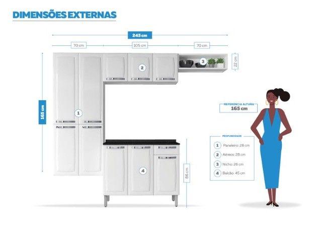 Cozinha Itatiaia Rose 7 Portas Aço e - Balcão com Tampo 3 Portas 1 Gaveta Branco - Foto 4