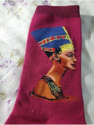Par de meia de algodão com estampa do faraó  - Foto 3