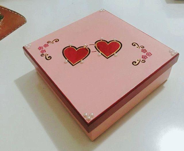 Caixa Coração Amor em MDF Pintura - Arte em Decoração - Foto 2