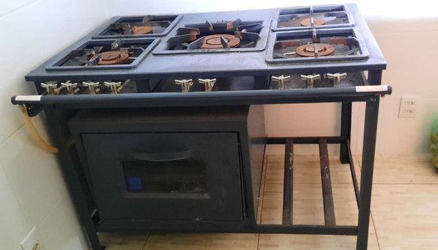 Fogão industrial 5 bocas + forno