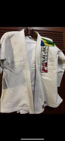 Kimono de Jiu-jítsu branco A3 185cm - Foto 4